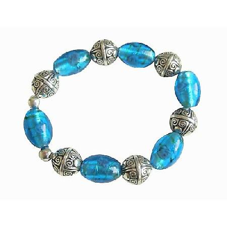 Millefiori Beads Stretchable Painted Bead Traditional Jewelry Bracelet