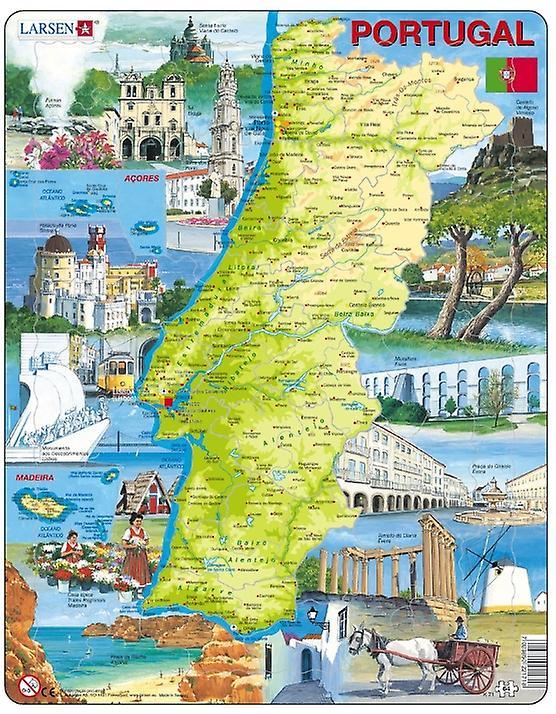 Karta över Portugal, med bilder - Frame/styrelse pussel 29 x 37 cm (LRS K71-PT)