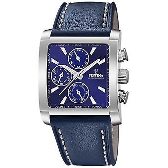 Festina | Cronógrafo de aço inoxidável de Mens | Azul pulseira de couro | Relógio de F20424/2