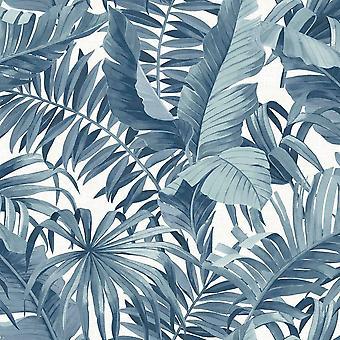 Tropical Wallpaper Leaf Palm Tree Blue White A Street Prints Paste The Wall