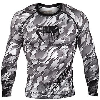 Venum Mens Tecmo Long Sleeve Rashguard Compression Shirt - Black/Gray