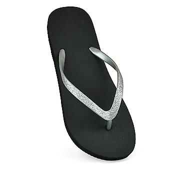 Sandrocks Womens/Ladies Glitter Strap Flip Flops