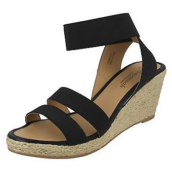 Ladies Savannah Elastic Ankle Strap Wedges F10864