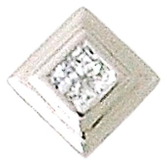 Toc Sterling Silver Mini Princess Cut Crystal Pendant on 18 Inch Chain