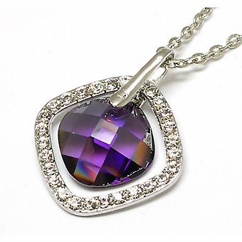 TOC Purple and Clear Rhinestone Set Square Hanging Pendant on 16