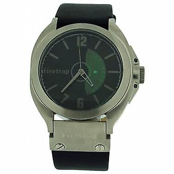Firetrap Gents Analogue Black Dial  Calendar  Black Leather Strap Watch FT1005B