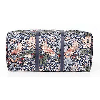 William morris - strawberry thief blue travel holdall by signare tapestry / bhold-stbl