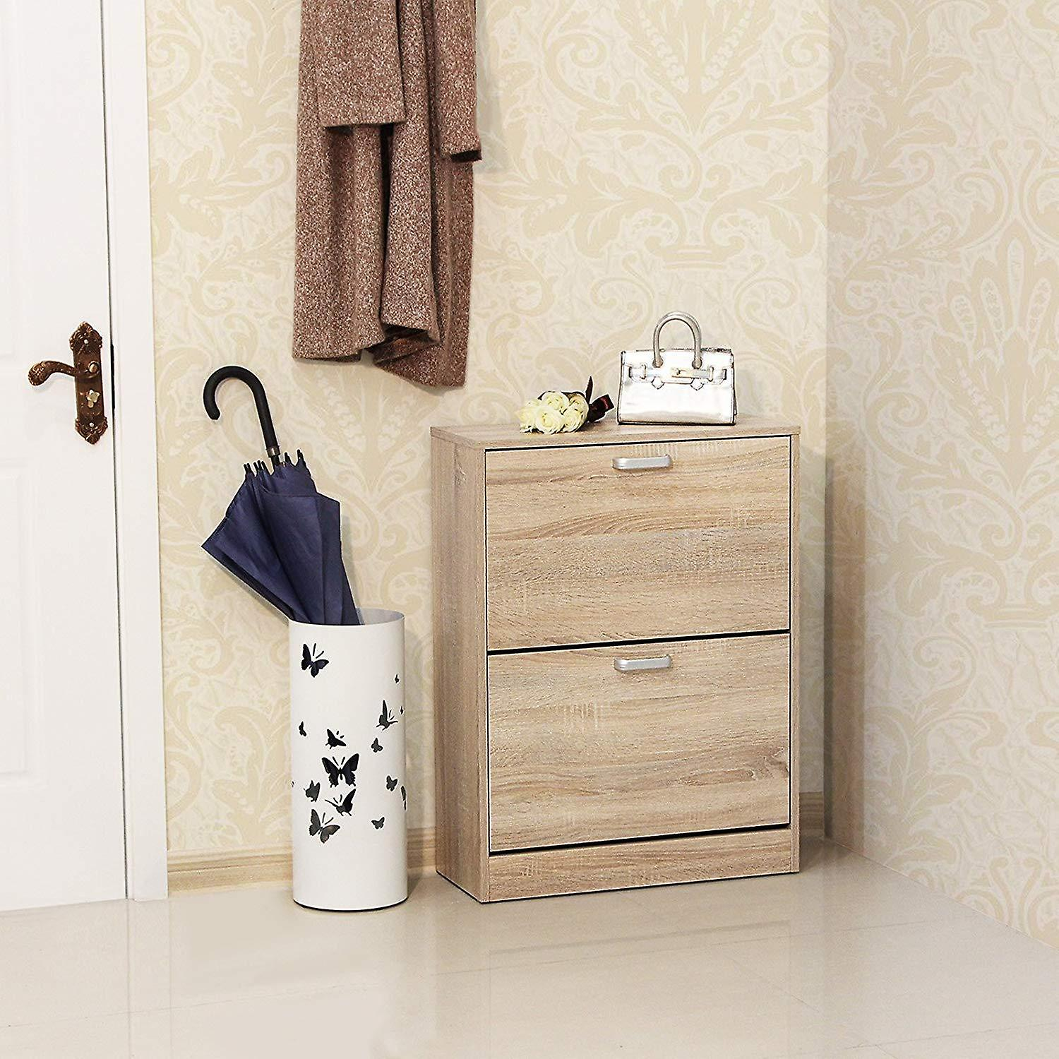 Closed shoe cabinet with 2 valves-oak