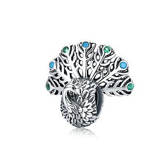 Sterling silver charm Peacock