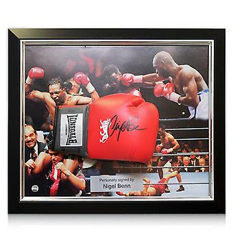 Nigel Benn Signed Boxing Glove In Deluxe Dome Frame