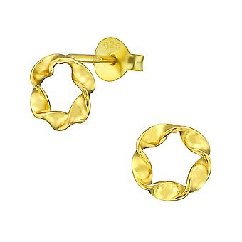 Twisted - 925 Sterling Silver Plain Ear Studs - W38588X