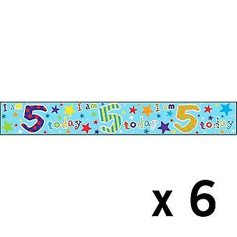 Simon Elvin Age 5 Birthday Foil Banner (6 Pack)