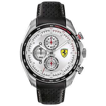 Scuderia Ferrari | Men's Speed-Racer | Black Leather Strap | Silver Dial | 0830651 Watch
