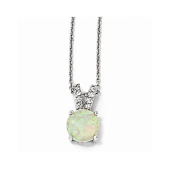 925 Sterling Silver Rhodium-plated Fancy Lobster Closure Simulated Opal Cabochon and Cubic Zirconia Necklace - 18 Inch