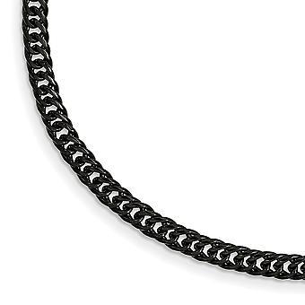 Bracciale catena di nero placcato Ip doppio cordolo - 9 pollici lucidata dell'acciaio inossidabile