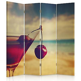 Room Divider, 4 Panels, Canvas, Cherry Drink