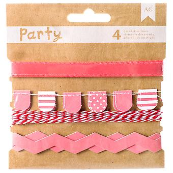 DIY-Party Zierleisten 4/Pkg-rosa & weiß 369829