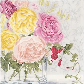 LanArte Pastel Flowers On Linen Counted Cross Stitch Kit-11.75