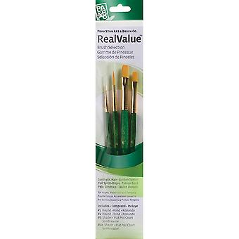 Real Value Brush Set Gold Taklon Round 1,4, Shader 6,10 P9116