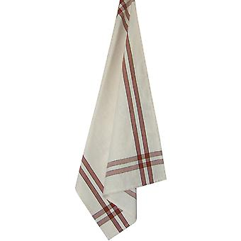 Cream Towel with Terra Cotta & Black Stripes 20