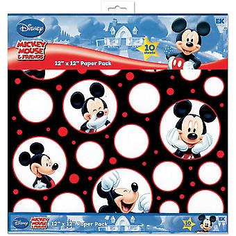 Mickey Mouse Black White Red Paper Pack 12