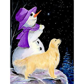 Snowman with Golden Retriever Flag Canvas House Size