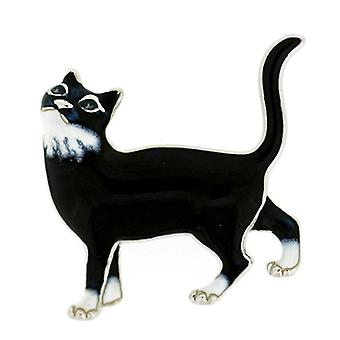 Fine Enamels Sterling Silver & Black Enamel Cat Brooch