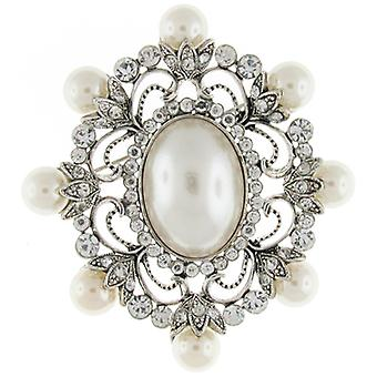 Brooches Store Large Silver Pearl & Crystal Oval Victorian Corsage Bridal Brooch