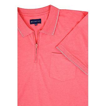 BadRhino Pink Short Sleeve Zip Neck Polo Top