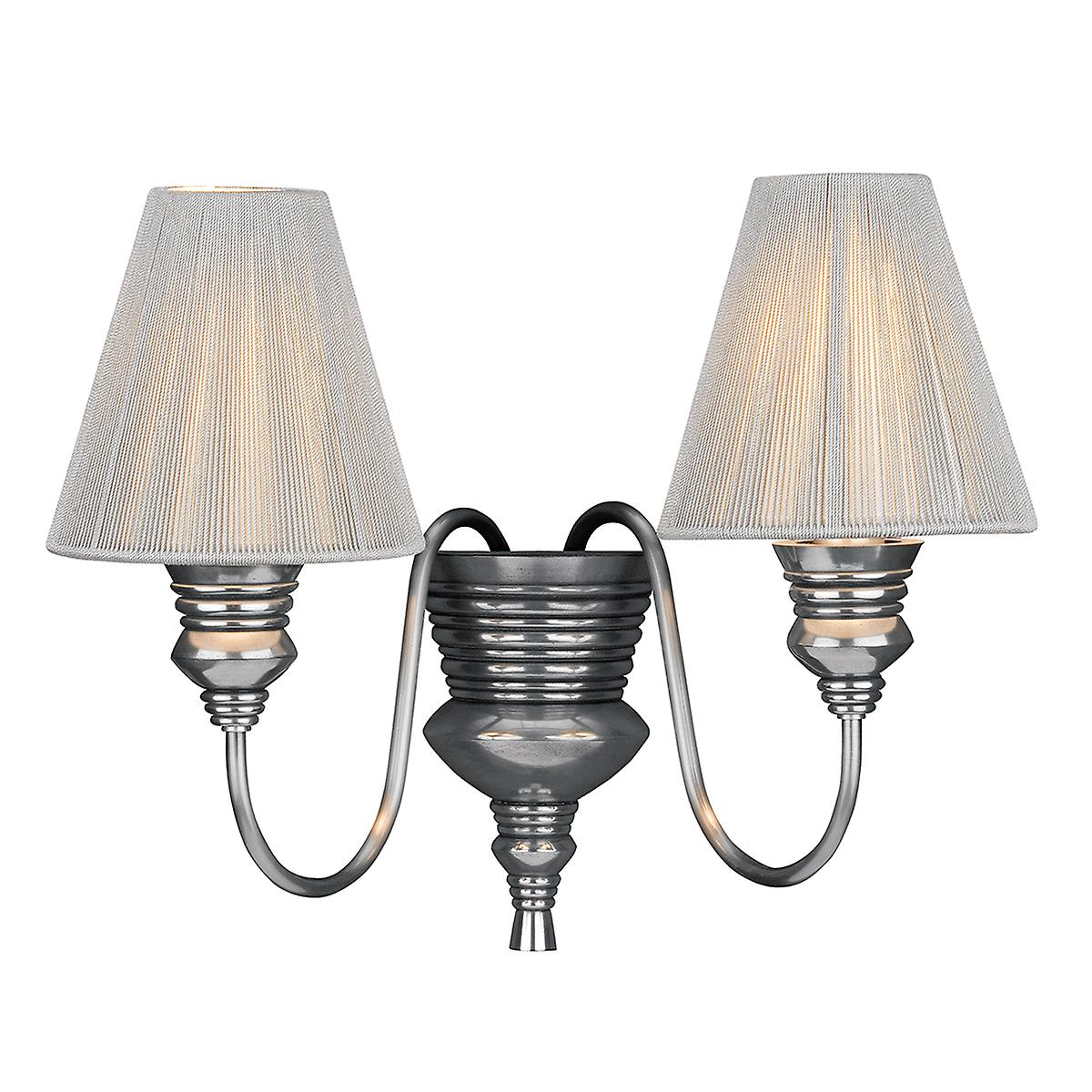 David Hunt DOR0967 Doreen Double Wall Light In Pewter With S115 String Shades