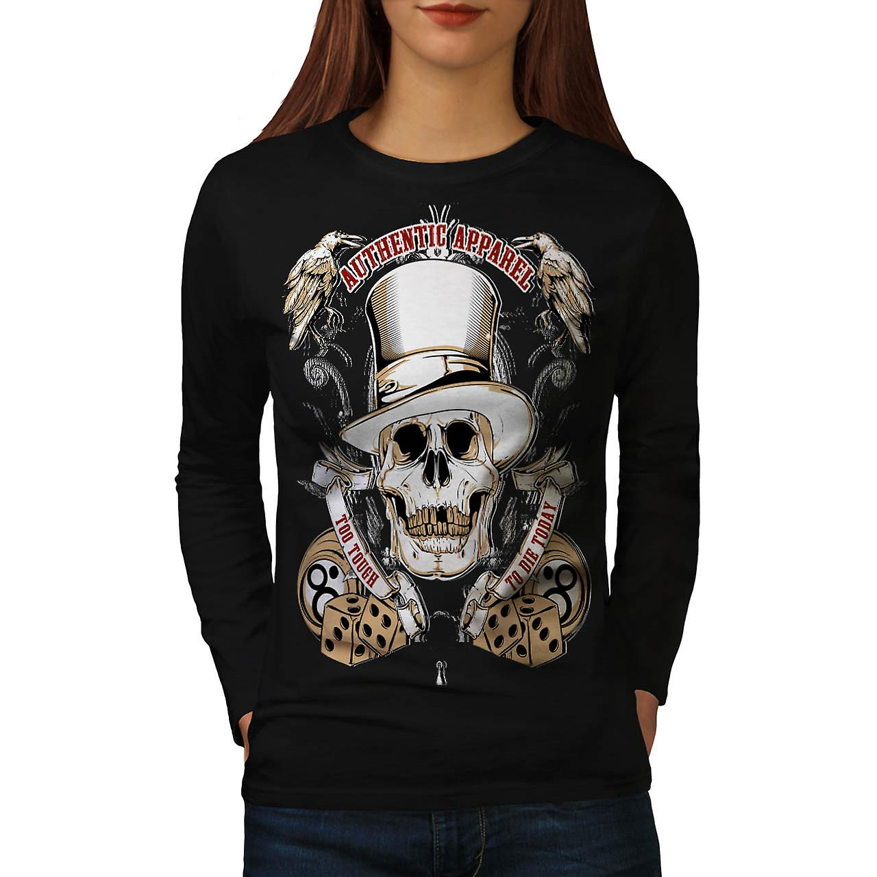 Authentic Dead Casino Game Head Women Black Long Sleeve T-shirt | Wellcoda