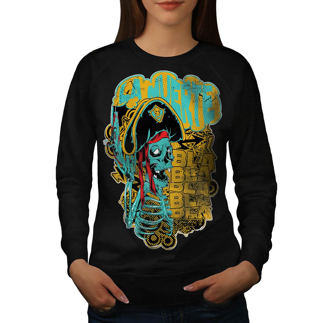 Pirate Skull Ghost Danger Talk femmes Black Sweatshirt | Wellcoda