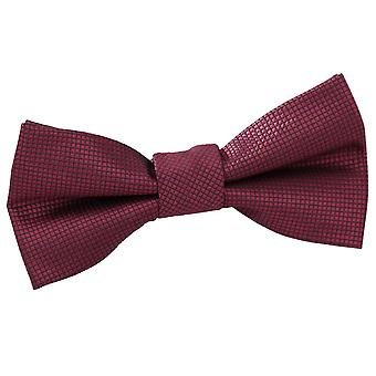 Boy's Burgundy Solid Check Pre-Tied Bow Tie