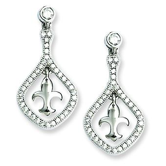 Sterling Silver and CZ Brilliant Embers Fleur De Lis Dangle Post Earrings