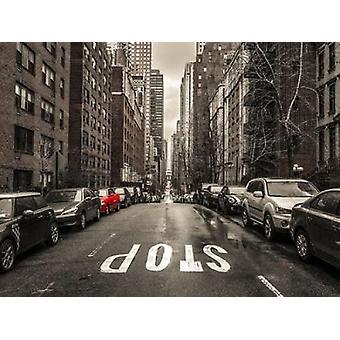 Strade di Manhattan con auto stampa del manifesto del New York City da Assaf Frank