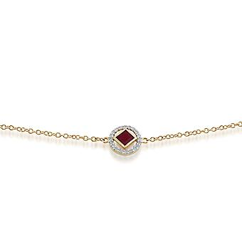 Gemondo 9 kt gult gull 0.32ct Ruby & Diamond armbånd