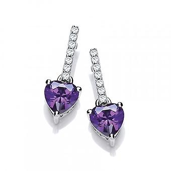 Cavendish French Sparkly Amethyst Heart Drop Earrings