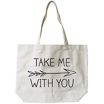 Women's Natural Canvas Tote Bag - Take Me with You Arrow Sign -18x14inches