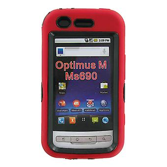 Dual Snap-on Hard Case for LG Optimus M MS690 (Red/Black)