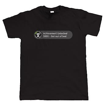 Achievement Unlocked - Got hors du lit, Mens drôle jeu Tshirt