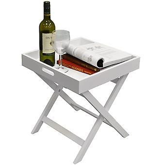 Wooden Folding Tray Top Side / End Table / Bedside / Laptop Tray - White