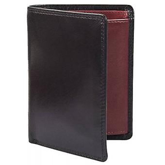 Dents Smooth Leather Tall Wallet - Black/Claret Red