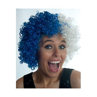 Supporters articles and musical instruments  Afro pruik small wit blauw