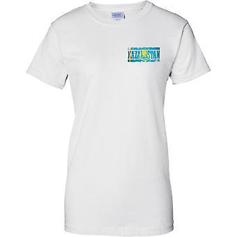 Efeito de bandeira nome Cazaquistão Grunge Country - senhoras peito Design t-shirt