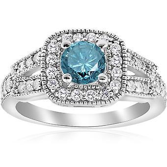 1 1/10ct Blue Diamond Cushion Halo Engagement Ring 14K White Gold