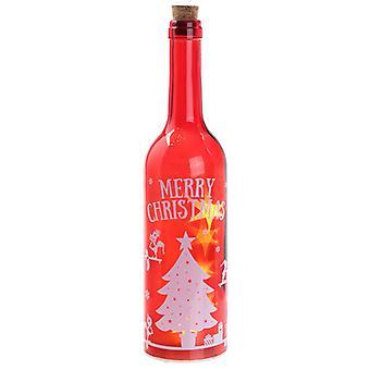 Puckator Boże Narodzenie Elf dekoracyjne LED butelka, czerwony
