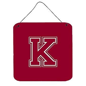 Letter K Initial Monogram - Maroon and White Wall or Door Hanging Prints