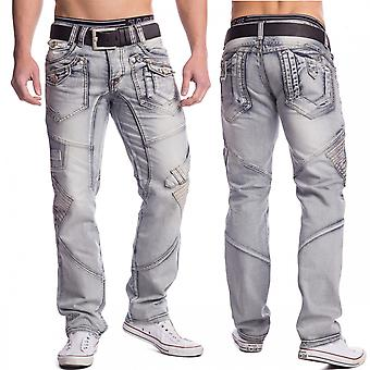 Grey men's Jeans fancy denim patches down cool Eyecatcher pants designer