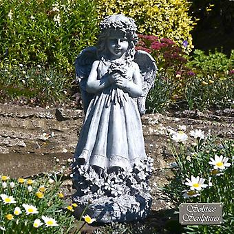 Standing Flower Angel Outdoor Garden Statue