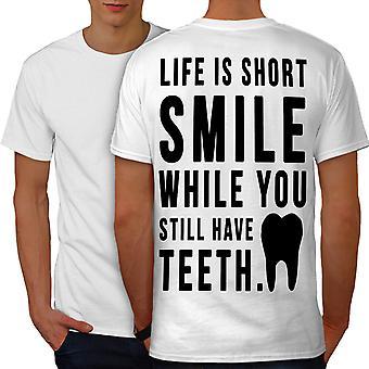Life Short Smile Men WhiteT-shirt Back | Wellcoda